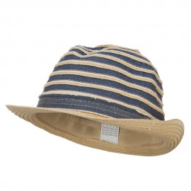 Girl's Striped Paper Braid Fedora