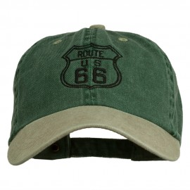 US Route 66 Embroidered Pigment Dyed Washed Cap - Spruce Khaki