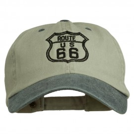 US Route 66 Embroidered Pigment Dyed Washed Cap - Beige Navy
