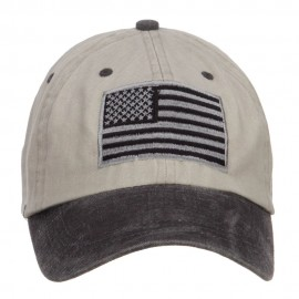 Silver American Flag Embroidered Washed Two Tone Cap - Beige Black
