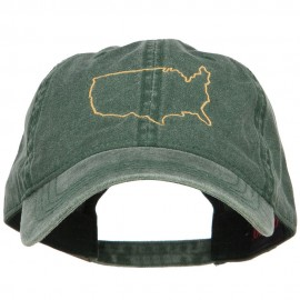 United States Outline Map Embroidered Washed Cap
