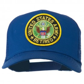 US Army Retired Circle Patched Mesh Cap - Royal