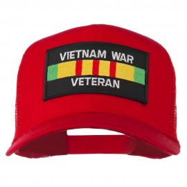 Vietnam War Veteran Patched Mesh Cap - Red