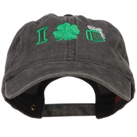 I Love Beer with Shamrock Embroidered Washed Cap
