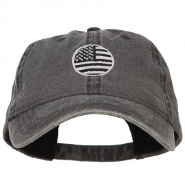 Circle Silver American Flag Embroidered Washed Cap