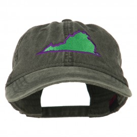 Virginia State Map Embroidered Washed Cotton Cap