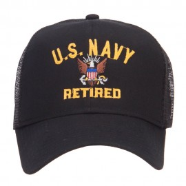 US Navy Retired Military Embroidered Mesh Cap - Black