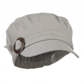 Viscose Linen Army Cap with Coconut Buckle Accent - Light Grey