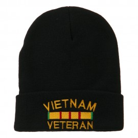 Vietnam Veteran Embroidered Long Knitted Beanie - Black