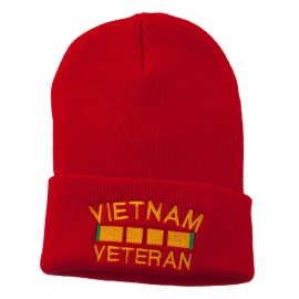 Vietnam Veteran Embroidered Long Knitted Beanie - Red