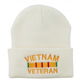 Vietnam Veteran Embroidered Long Knitted Beanie - White