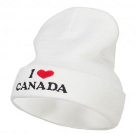 I Love Canada Embroidered Long Beanie