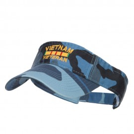 Vietnam Veteran Embroidered Military Visor - Sky Camo