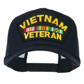 Vietnam Veteran Military Patched Mesh Back Cap - Navy