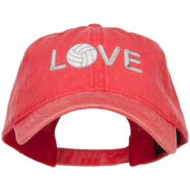 Love with Volleyball Embroidered Washed Cotton Cap