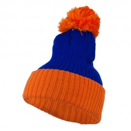 Two Tone Vertical Ribbed Pom Beanie