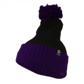 Two Tone Vertical Ribbed Pom Beanie - Black Purple