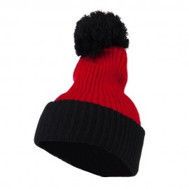 Two Tone Vertical Ribbed Pom Beanie - Red Black