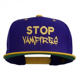 Halloween Stop Vampires Embroidered Snapback Cap