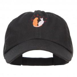 Love Cats Heart Embroidered Low Cap