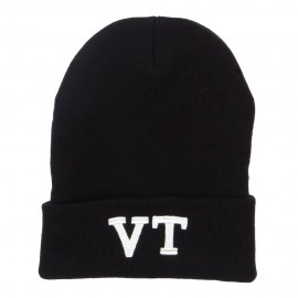 VT Vermont State Embroidered Long Beanie