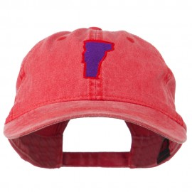 Vermont State Map Embroidered Washed Cotton Cap