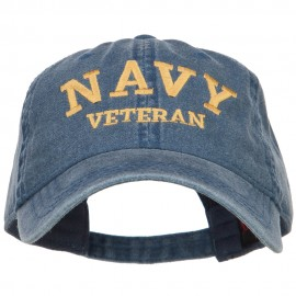 Navy Veteran Letters Embroidered Washed Cap