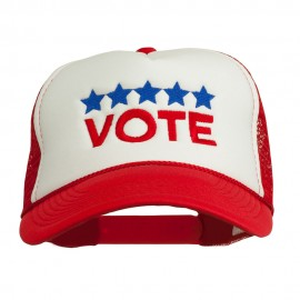 Vote with Stars Embroidered Foam Mesh Back Cap