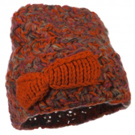 Women's Bow Mix Yarn Acrylic Beanie - Orange