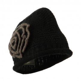 Women's Acrylic Knit Beanie with Spiral Flower - Black