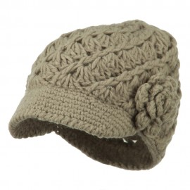 Women's Acrylic Crocheted Brim Cabbie Cap - Grey
