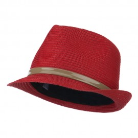Women's Feather Accent Leatherette Band Fedora