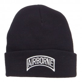 White Airborne Embroidered Cuff Beanie
