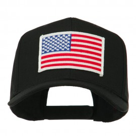 White American Flag Patched Cap - Black