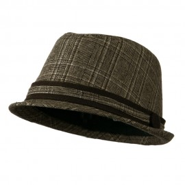 Women's Brown Plaid Fedora - Brown Plaid