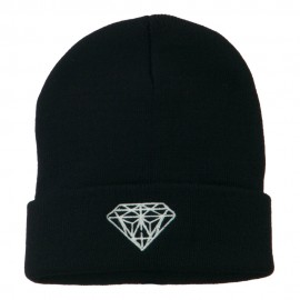 White Diamond Embroidered Long Cuff Beanie - Navy