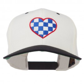 Checkered Heart Embroidered Wool Blend Cap