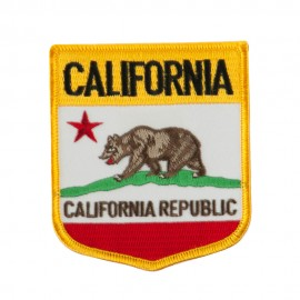 Western State Flag Embroidered Patch Shield - California