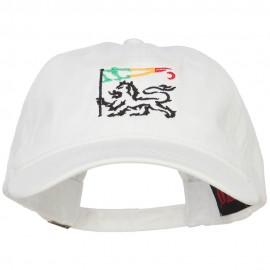 Rasta Lion with Flag Embroidered Washed Cap