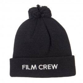 Film Crew Embroidered Pom Cuff Beanie