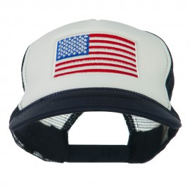 White American Flag Embroidered Two Tone Mesh Cap