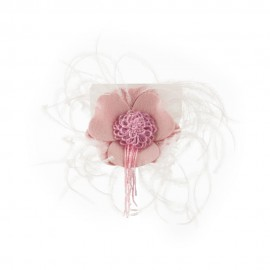 Women's Genuine Flower Feather Pin - Pink