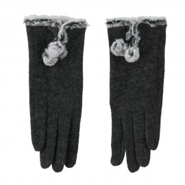 Women's Wool Texting Glove with Faux Fur Trim