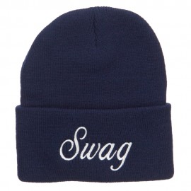 White SWAG Embroidered Long Beanie