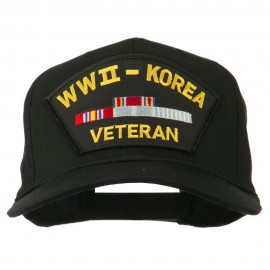 WWII Korean Veteran Patched Cotton Twill Cap - Black