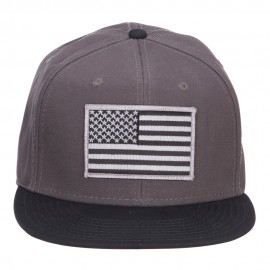 Grey American Flag Patched Two Tone Snapback - Black Charcoal
