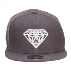 Diamond Embroidered Wool Flat Snapback Cap