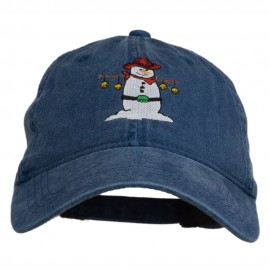 Western Snowman Embroidered Washed Dyed Cap - Navy