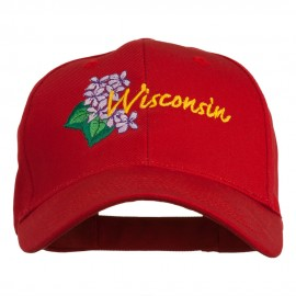 USA State Wisconsin Wood Violet Embroidered Low Profile Cap