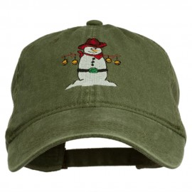 Western Snowman Embroidered Washed Dyed Cap